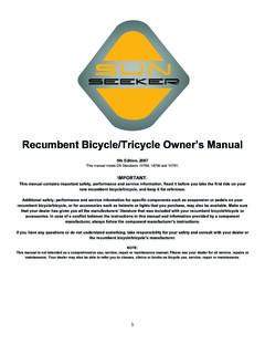 Recumbent Bicycle/Tricycle Owner's Manual - jbimporters.com