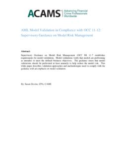 AML Model Validation in Compliance with OCC 11 …
