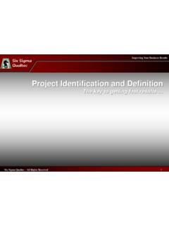 Project Identification and Definition - Six Sigma …