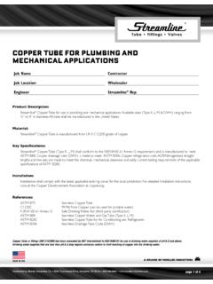 COPPER TUBE FOR PLUMBING AND MECHANICAL …