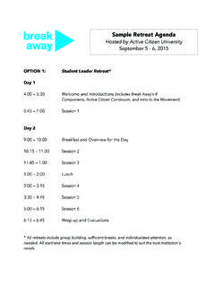 Sample Retreat Agenda - Break Away - Alternative …
