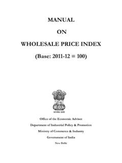 MANUAL ON WHOLESALE PRICE INDEX (Base: 2011-12 = 100)