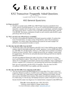 KX2 Transceiver: Frequently Asked Questions - Elecraft