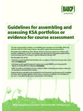 Guidelines for assembling and assessing KSA …