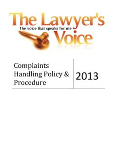 Complaints Handling Policy & Procedure - The Lawyer's Voice