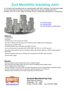 Zunt Monolithic Insulating Joint - Kerotest
