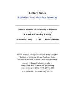 Lecture Notes Statistical and Machine Learning - Sinica