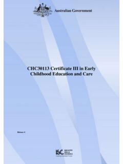 CHC30113 Certificate III in Early Childhood Education and …