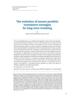 The evolution of insurer portfolio investment …
