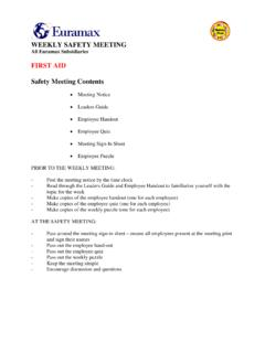 WEEKLY SAFETY MEETING FIRST AID Safety …