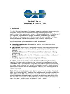 The OAD Survey - Taxonomy of General Traits