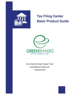 Tax Filing Center Basic Product Guide - Greenshades Software