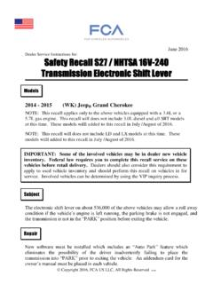 Safety Recall S27 / NHTSA 16V-240 Transmission …
