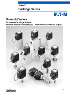 Vickers Cartridge Valves Solenoid Valves