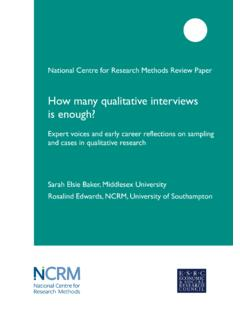 How many qualitative interviews is enough? - NCRM