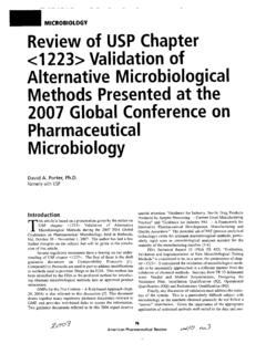 Review of USP Chapter <1223> Validation of Alternative ...