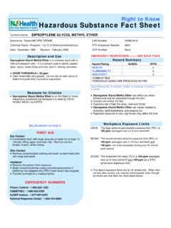 Right to Know Hazardous Substance Fact Sheet - New Jersey