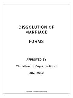 PETITION FOR DISSOLUTION OF MARRIAGE