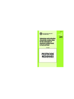 Submission and evaluation of pesticide residues …