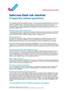 SafeLives Dash risk checklist Frequently asked questions