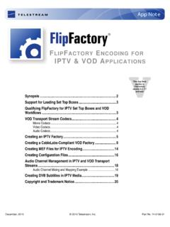 FlipFactory Encoding for IPTV & VOD Applications App Note