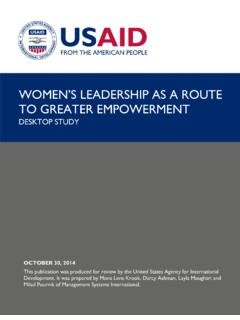 WOMEN'S LEADERSHIP AS A ROUTE TO GREATER …