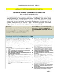 The Charlotte Danielson Framework for Effective Teaching ...