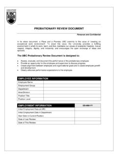 PROBATIONARY REVIEW DOCUMENT - UBC Human …