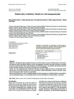 Patient safety in dentistry: Dental care risk management plan