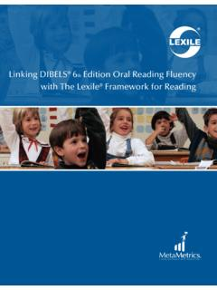 Linking DIBELS® 6th Edition Oral Reading Fluency with The ...