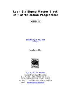 BLACK BELT CERTIFICATION - Indian Statistical Institute ...