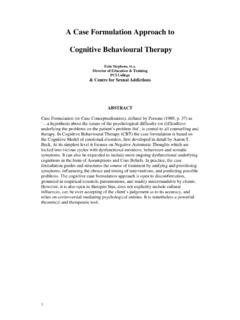 A Case Formulation Approach to Cognitive Behavioural Therapy