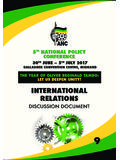 INTERNATIONAL RELATIONS - African National …