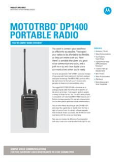 MOTOTRBO DP1400 PORTaBlE RaDIO - Novofer Zrt.
