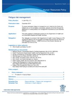 Fatigue risk management - Queensland Health