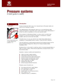 Pressure systems at work: A brief guide to safety …