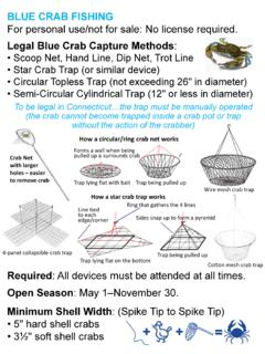 Legal Blue Crab Capture Methods - Connecticut