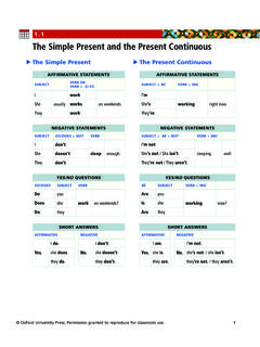 1.1 The Simple Present and the Present Continuous