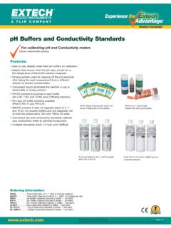 pH Buffers and Conductivity Standards - Extech Instruments