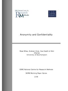 Anonymity and Confidentiality - eprints.ncrm.ac.uk