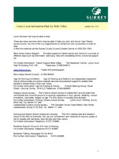 Carers Local Information Pack for Mole Valley updated Nov …