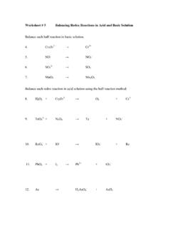 Worksheet # 5 Balancing Redox Reactions in Acid and …