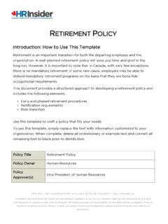 RETIREMENT POLICY - HR Insider
