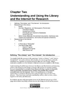 Chapter Two Understanding and Using the Library and the ...