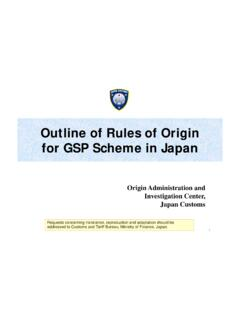 Outline of Rules of Origin for GSP Scheme in Japan