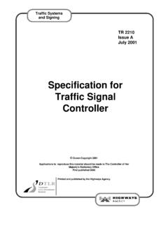 Specification for Traffic Signal Controller - UK Roads