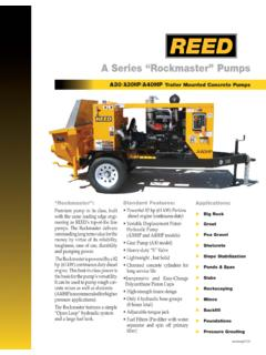 "A Series ""Rockmaster"" Pumps - REED Concrete Pumps ..."