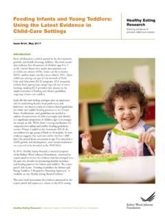 Feeding Infants and Young Toddlers: Using the …