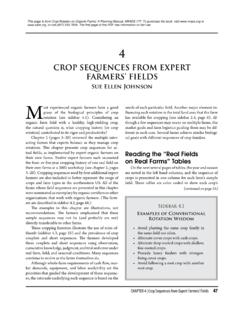 CROP SEQUENCES FROM EXPERT FARMERS' FIELDS