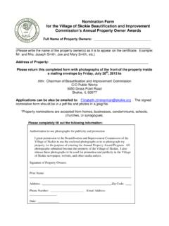 Nomination Form for the Village of Skokie …